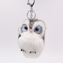 Cute Pompom Owl Keyrings Keychains Faux Rabbit Fur Pompom Fluffy Trinkets Car Handbag Pendant Key Chains Ring Holder plus rabbit print faux fur pompom detail tee