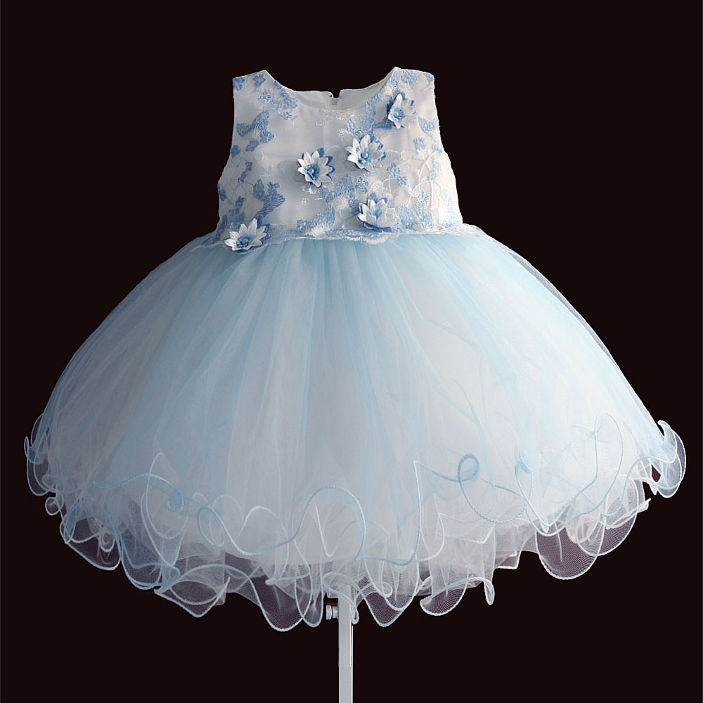 New Flower Blue/Beige Infant Dress Princess TUTU Baby Girl Party Wedding Dresses for Kids Christmas Clothing Size 6M-4T