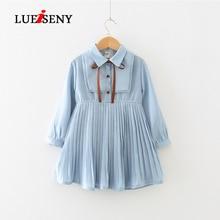 LUEISENY Girls Dresses Summer 2019 Kids Clothes Sweet Temperament Pleated Waist Long-Sleeved Chiffon Dress
