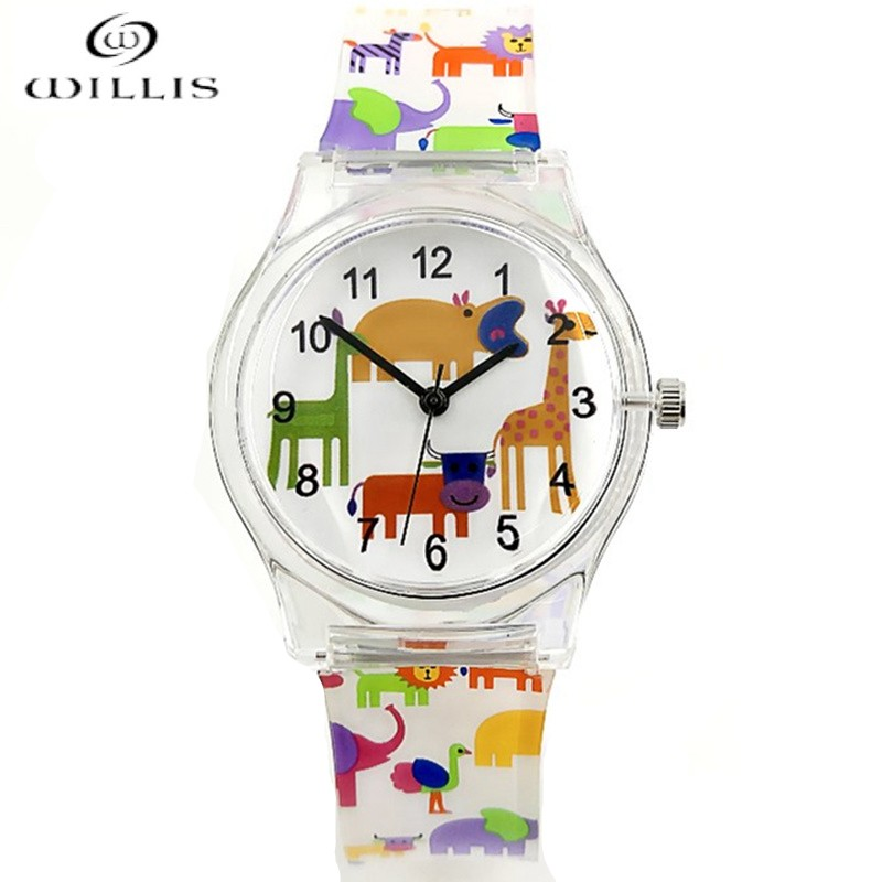 Willis Brand Casual Girl Watches Fashion For Women Animal Water Resistant Sports Silicone Watch Children Cartoon Plastic Watches cartoon animal women watch