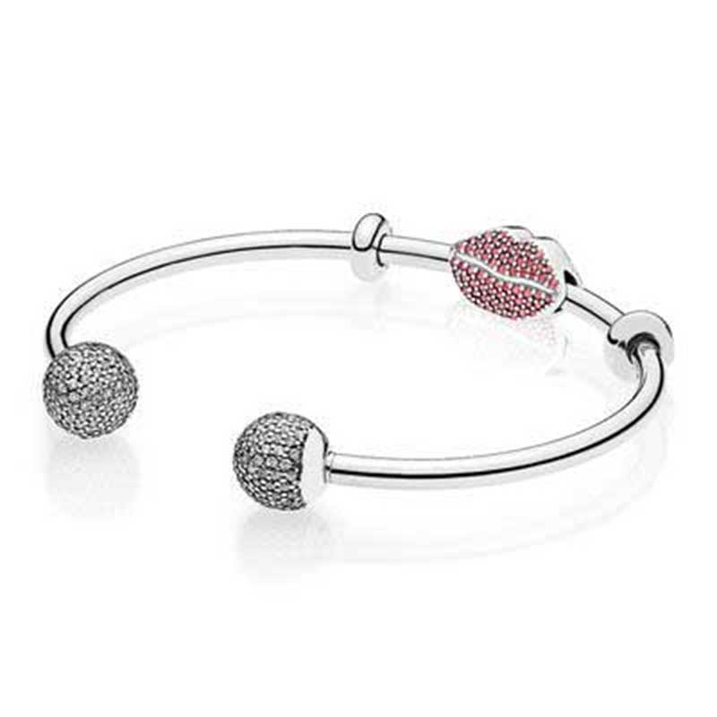 100% 925 Sterling Silver SPARKLING KISS OPEN BANGLE GIFT SET Clear CZ fit DIY Original Bracelets jewelry A set of prices 100% 925 sterling silver you and me bangle gift set clear cz fit diy original charm bracelets jewelry a set of prices