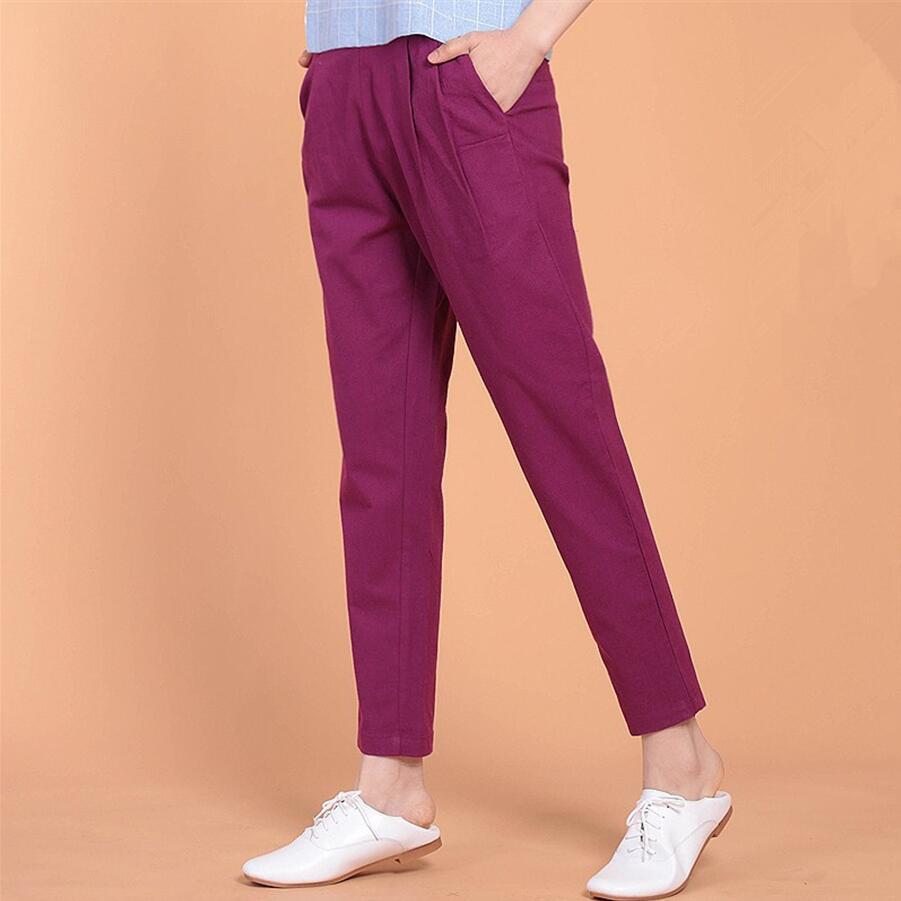 Autumn 2019 Spring Summer Elastic Waist Harem Pants Cotton Linen Solid Color Causal Ankle-length Pants Large Size trousers M-7XL