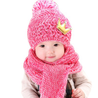 Winter Warm Baby Hat Scarf set Knit Baby Girl Hats Baby Boys Caps 6M to 3Y Kids Children Cap Scarves set