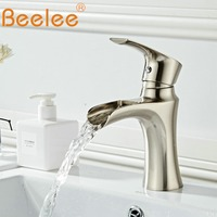 Beelee Bathroom Sink Mixer Faucet Single Handle Single Hole Widespread Cold&Hot Waterfall Basin Faucets Nickel torneira BL6640N