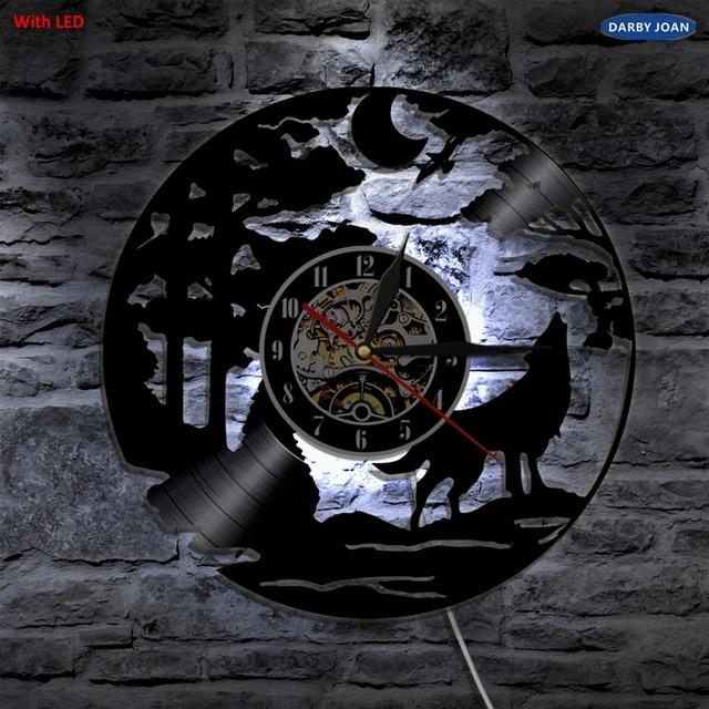 Serigala Handmade LED Vinyl Jam Dinding Warna Mengubah Remote Control LED  Backlight Antik Art Keren Ruang 4d5b3bc81b