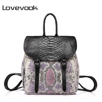 LOVEBOOK Brand Fashion Women Backpack High Quality Female Shoulder Bag With Serpentine Prints Mini Backpack For