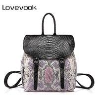 LOVEBOOK marque de mode femmes sac à dos de haute qualité femelle épaule sac avec serpentine affiches mini-sac à dos pour les adolescentes