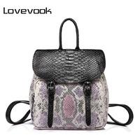 LOVEBOOK Brand Fashion Women Backpack High Quality Female Shoulder Bag With Serpentine Prints Mini Backpack For