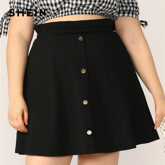 SHEIN Plus Size Black Paperbag Waist Button Up Flare Skirt  2019 Women Summer Casual A Line Solid Big Size Above Knee Mini Skirt