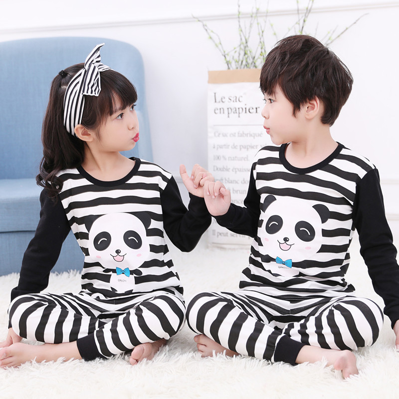 Girls Pajamas Sleepwear Clothing Panda Baby Kids Winter Boys Suits Pants Cotton 2pcs title=