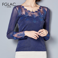 FGLAC Women Blouse Shirt Fashion Casual Long Sleeve Mesh Tops Elegant Slim Hollow Out Lace Tops