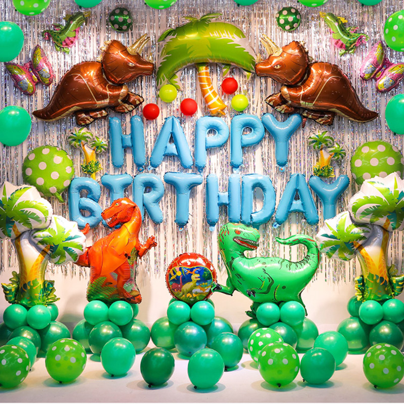 Dino Party Supplies Dinosaur Balloons Disposable Tableware Kids Boy Birthday Party Decoration Jungle Party Animal Foil Balloon