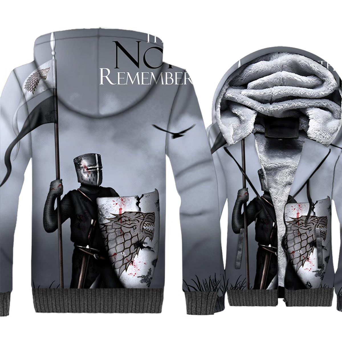 Game of Thrones Hoodies Men 3D Jacket House Stark The North Remembers Sweatshirt Winter Thick Fleece Wolf Coat Hipster Clothes