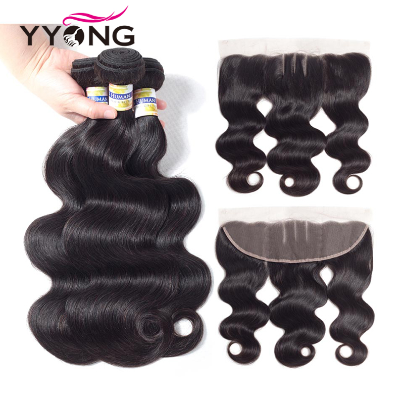Yyong волос 3 Связки Бразильский объемная волна с фронтальной Номера для человеческих волос Связки с 13X4 уха до ухо Кружева Фронтальные