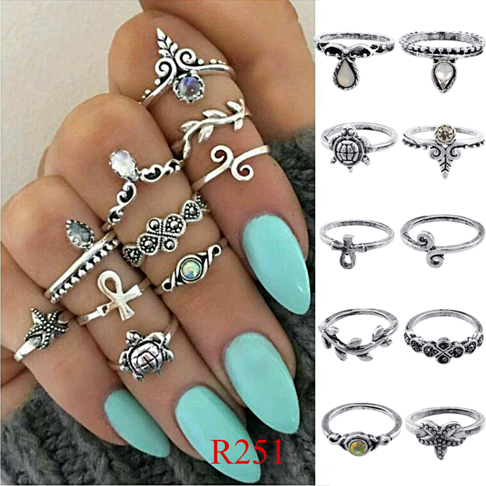 HTB1aUutQVXXXXbkXVXXq6xXFXXXV 11-Pieces Boho Chic Spirituality Silver Plated Antique Stackable Ring Set - 9 Sets
