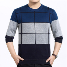 High Quality Pullover Men New Fashion O-Neck Spring Sweater Men's Brand Simple Pullovers Plaid Hit Color Casual Knitted Sweater