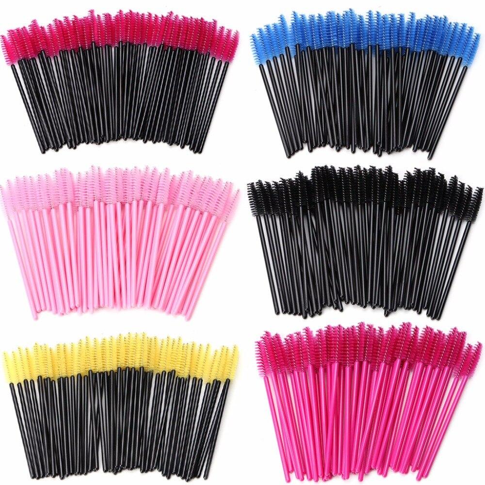 цена на 50Pcs Mini Eyelash Disposable Mascara Wand Applicator Brush Extension Makeup Set
