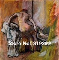Peinture à l'huile Reproduction sur Toile de Lin, laissant-la-bain by edgar degas, Livraison DHL Expédition RAPIDE, 100% à la main