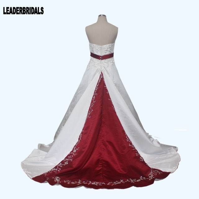 New Wedding Dresses White Ivory Blue Green Purple Red Satin Embroidery Bridal Gown Plus Size Color