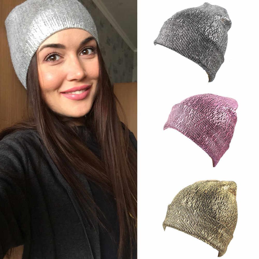cad43ae46df 2018 Women Fashion Hat Warm Ear Protection Crochet Winter Knit Glittering  Caps Autumn Winner Sep17