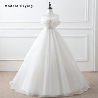 Fashion Romantic Ivory Ball Gown Wedding Dresses 2017 With Big Bow Formal Women Long Puffy Bridal