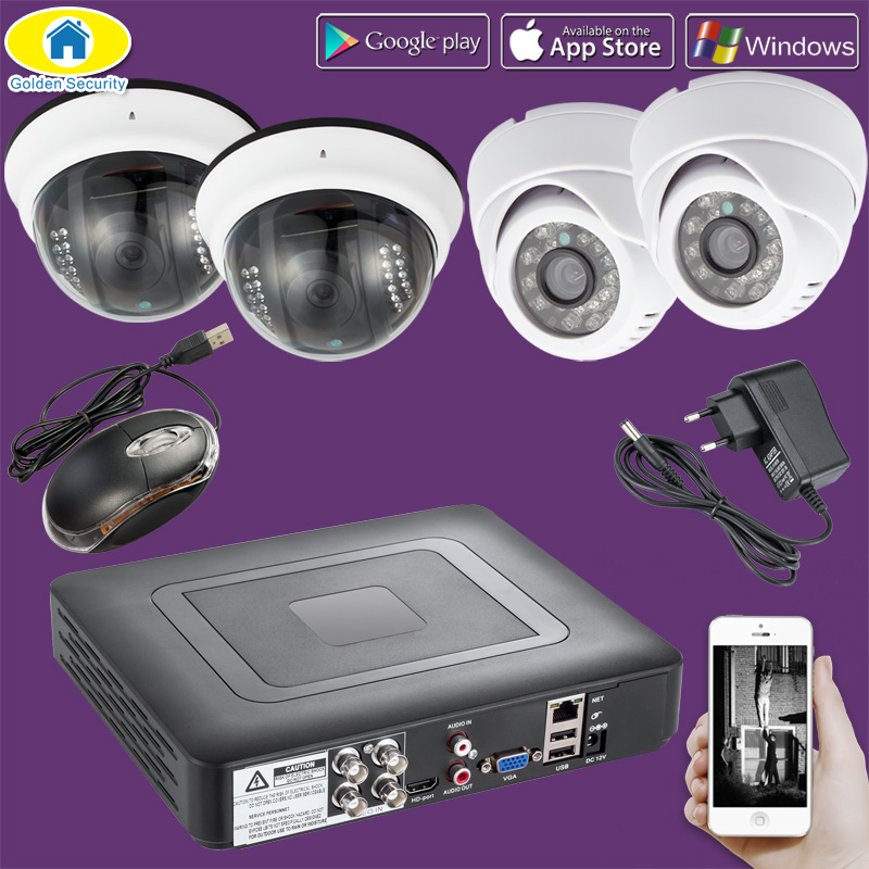 Golden Security 4CH CCTV DVR Surveillance Security System,outdoor 720P AHD Camera Night Vision DVR CCTV Camera