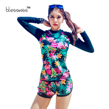 BLESSKISS Printed Swimwear Women Long Sleeve Bikini Women Swimsuit With Shorts Crop Top Swimming Suits For Women Beachwear 2016