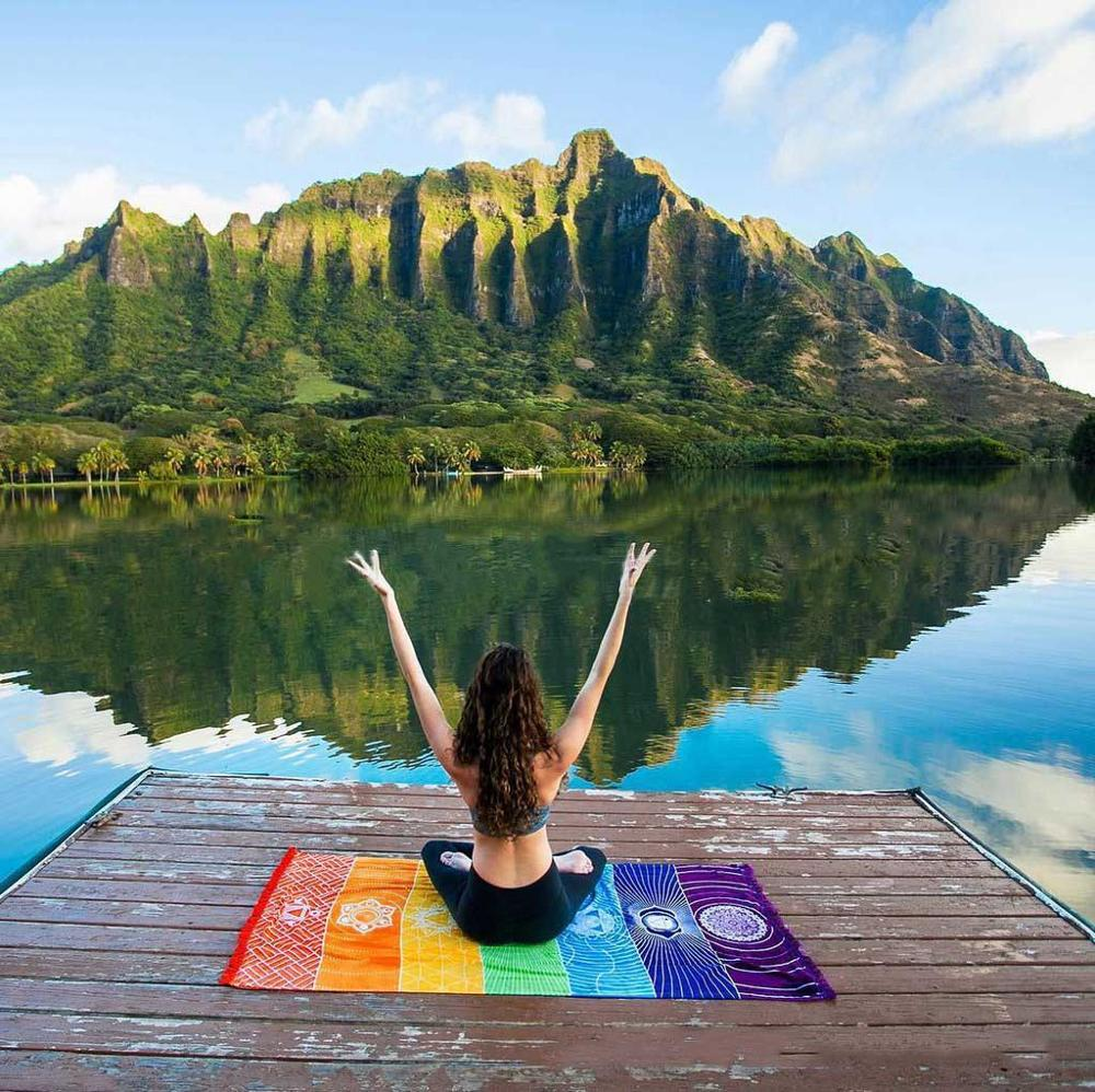 Creative Rainbow Boho Beach Mat Mandala Blanket Striped Wall Hanging Tapestry Scarf Yoga Mat FC0170