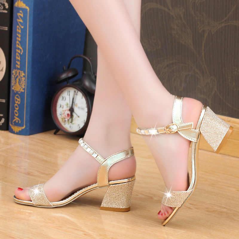 a57403f15a2a7 ... 2018 Summer Women Sandals Sexy High Heels Women Pumps Women Shoes Gold  Silver Sandals Heels Ladies ...