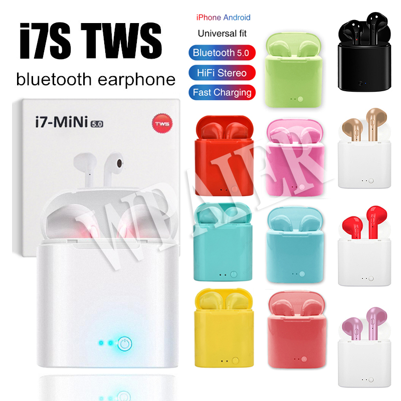 WPAIER I7S TWS Portable Bluetooth Headphones Wireless Earphones With Charging Box bluetooth Earbuds Universal I7 mini headsets image