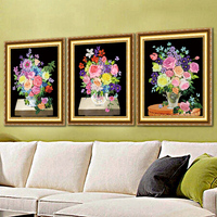 ribbon embroidery new floral charming 5D printing three dimensional embroidery non cross stitch triptych flower paintings