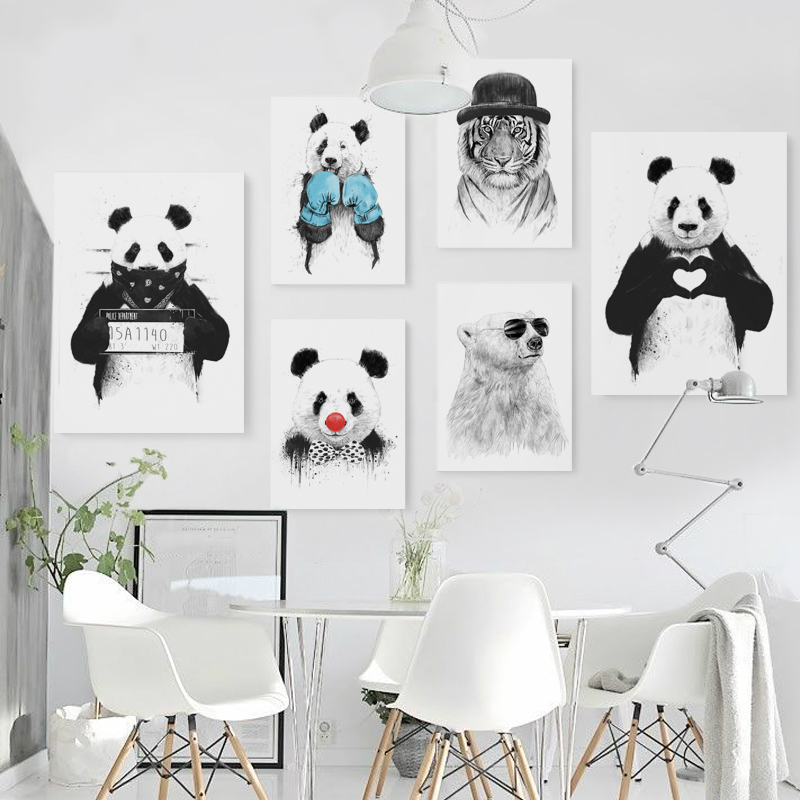 Panda, Kids, Painting, Nordic, Bear, Wall