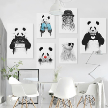 Nordic Style Watercolor Animal Bear Panda Tiger Canvas Painting by numbers Minimalist Art Wall Picture For Living Room Kids