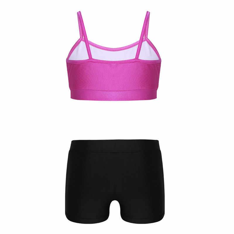 fede02bd1ca ... TiaoBug Kids Dance Wear Crop Tank Top Dance Printed Shorts Set for  Stage Girls Ballet Dance ...