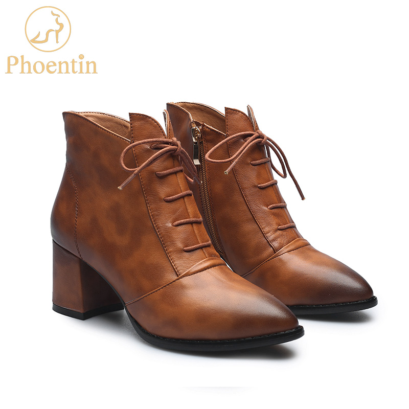 Phoentin new zipper women ankle boots cross tied mixed colors motorcycle genuine leather boots high hoof