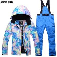 Бренд ARCTIC QUEEN, Женский комплект для сноубординга, куртка для сноубординга и штаны, водонепроницаемая и ветрозащитная ткань, зимняя спортивная одежда, Femal