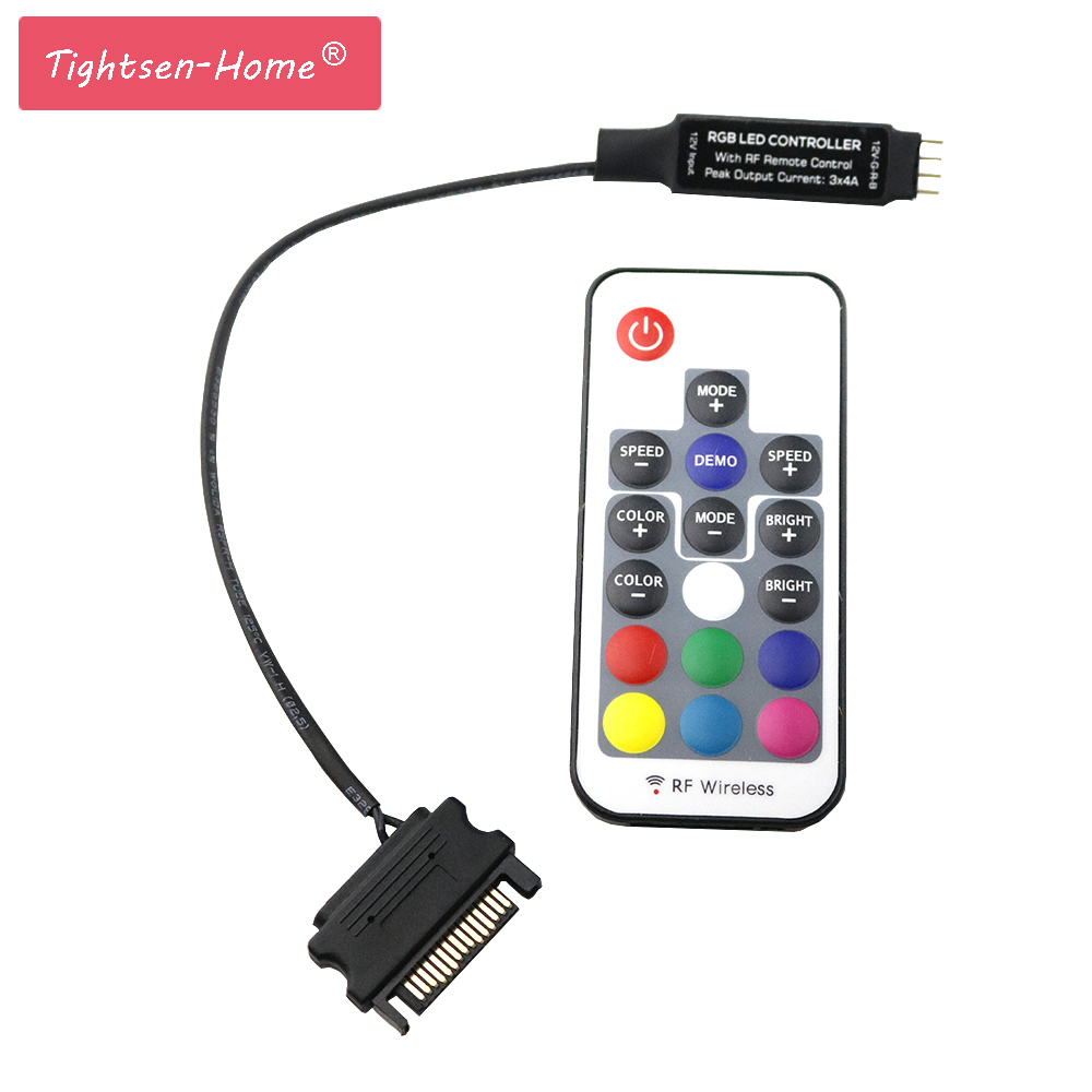 DC12V SATA RGB Controller 17keys MINI RF Remote Wireless Controler For PC Computer Case 5050 3*4A Sata LED Strip Tape Lighting