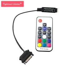 DC12V SATA RGB Controller 17keys MINI RF Remote Wireless Controler For PC Computer Case 5050 3*4A sata LED Strip Tape Lighting