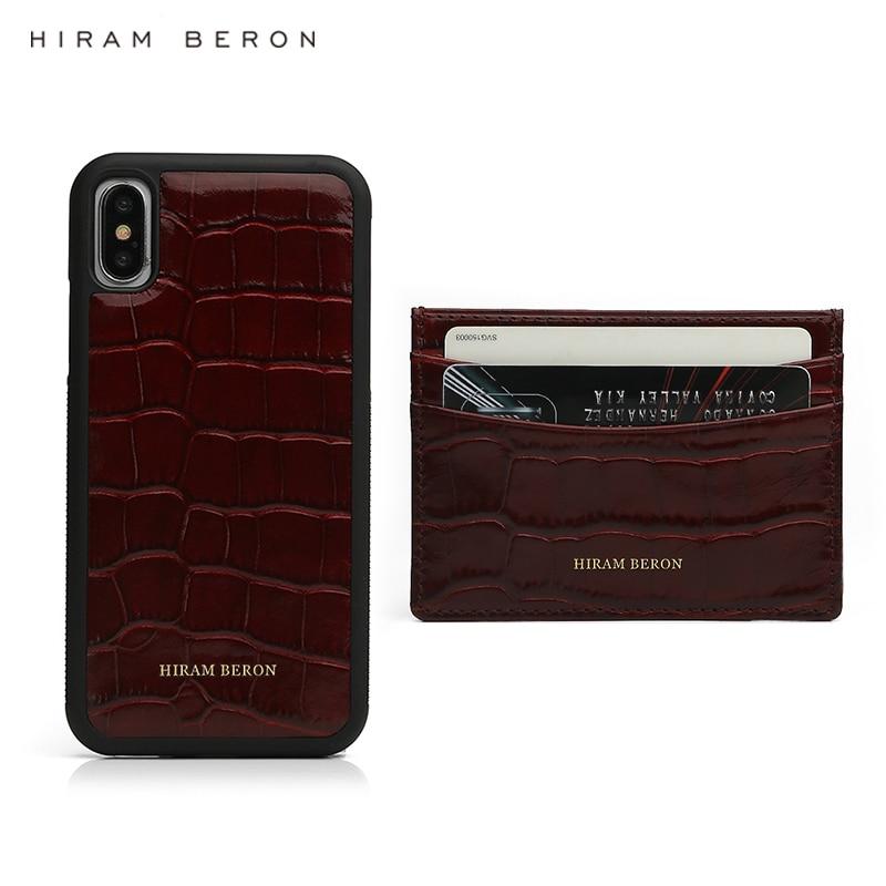 Funda de teléfono Hiram Beron personalizada con tarjetero para iphone 11 Pro Max, producto de cuero de lujo, patrón de cocodrilo, juego de regalo dropship-in Soporte para tarjeta y carnés de identificación from Maletas y bolsas    1
