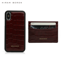 Hiram Beron personalised card holder phone case for iphone 11 Pro Max luxury leather product crocodile pattern gift set dropship