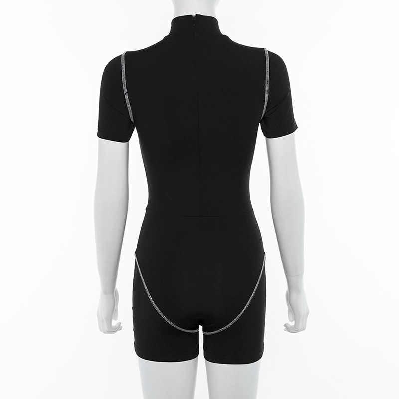Женский Короткий комбинезон фитнес светоотражающий буквенный принт спортивная одежда комбинезон Bodycon стрейч-комбинезоны активная тренировка одежда спортивный костюм