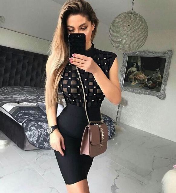 High quality 2017 new Hollow women's dress wholesale high neck dusty pink beige black studded bandage dress dropshipping L-437 jenni new pink solid ruffled chemise l $39 5 dbfl