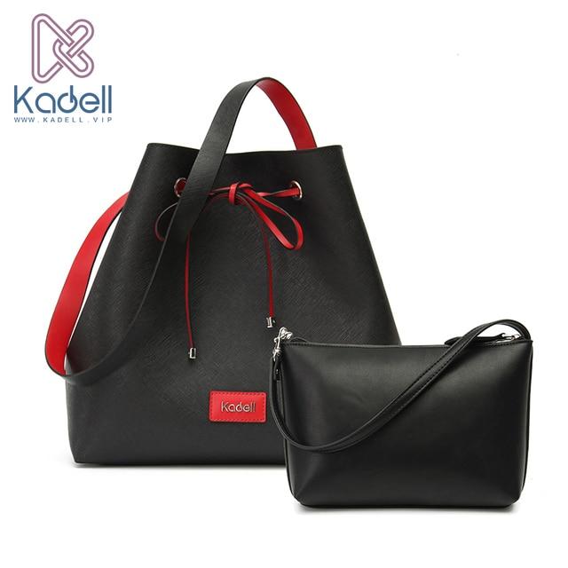 Kadell известный бренд 2 шт./компл. Drawstring Bucket Bag Высокое качество PU кожа сумки на ремне через плечо женские дизайнерские сумки