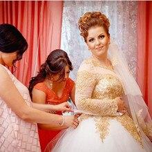 Luxury White Gold Wedding Dresses Appliques Lace Beaded Ball Gowns Long Sleeved Bridal Dress Court Train Vestodo de Novia 2017