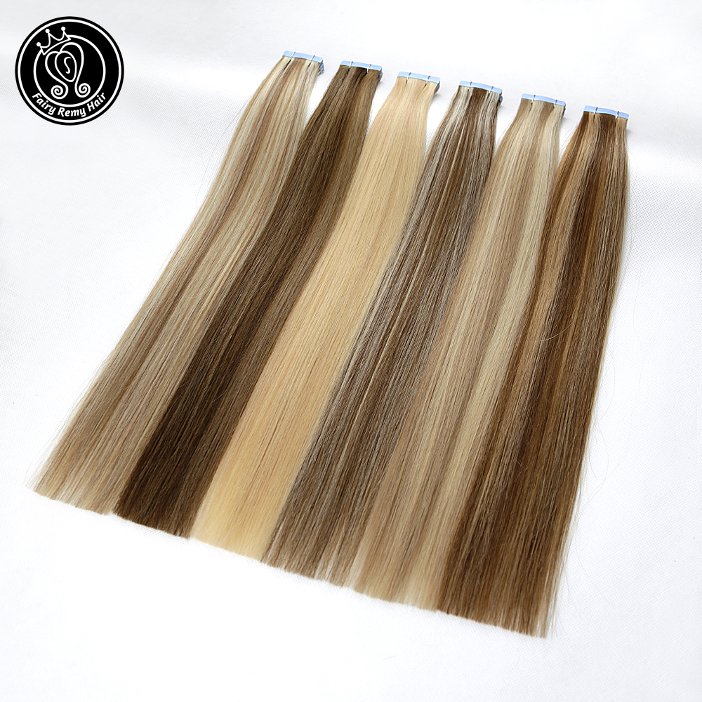Fairy Remy Hair 2.5g/piece 16 18 20 22 Inch Tape In Hair Extensions European Platinum Blonde Color Adhesive Hair Extension 20pc