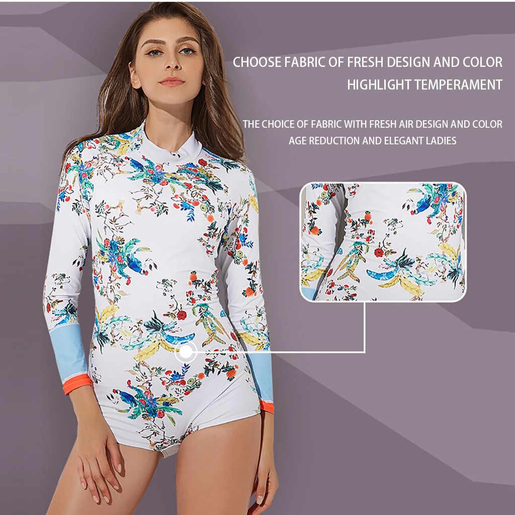 طفح الحرس طويلة الأكمام البريدي UV حماية تصفح ملابس السباحة المايوه السيدات تصفح الملابس في اللون A30328