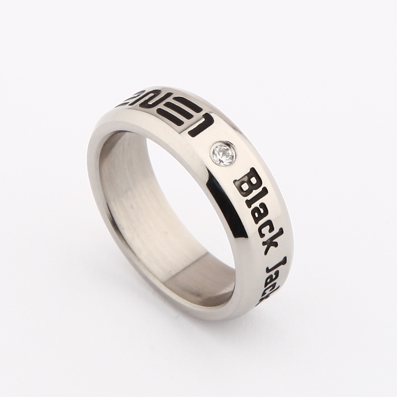 Wholesale KPOP 2NE1 To Any One Black Jack Silver ring Men or Women rings