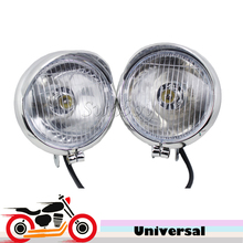 Universal 12 v Motocicleta Auxiliar Faros de Niebla Luz de Conducción del Punto de Luz Para Harley Bobber Chopper Cruiser Honda Suzuki Yamaha