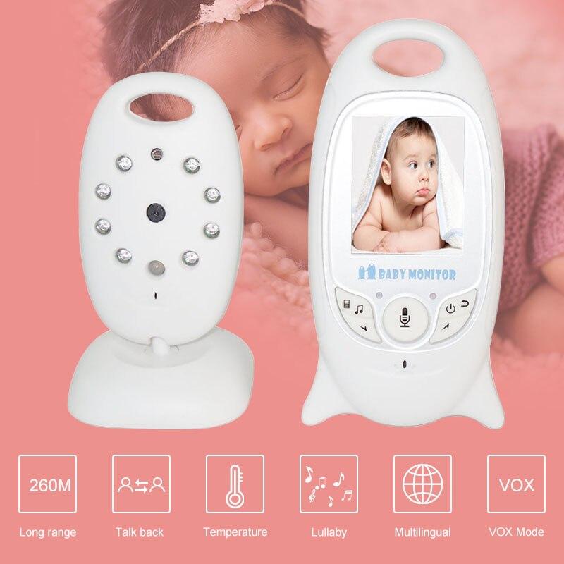 Moniteur vidéo sans fil avec 8 berceuses caméra de sécurité couleur 2.0 pouces 2 voies vision nocturne ir surveillance de la température