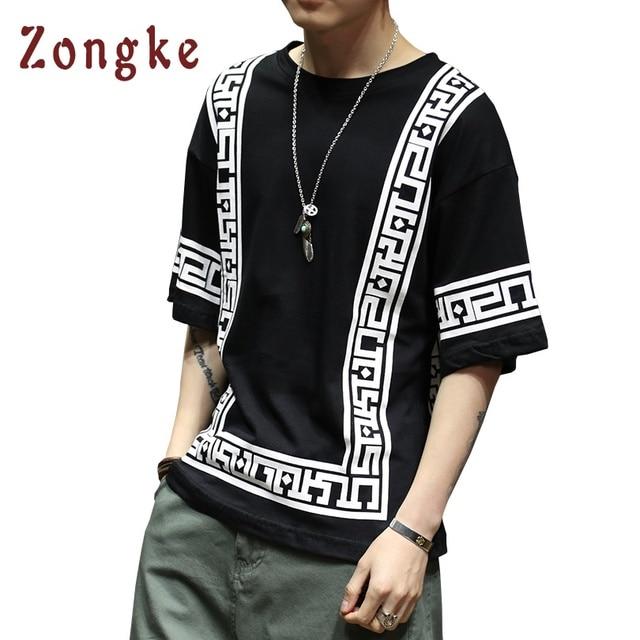 Zongke Japanese T Shirt Men Striped Harajuku Streetwear Oversized Men T Shirt Funny Men T-Shirts White tshirt 2018 Summer Tops
